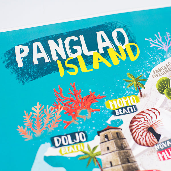 panglao island tourist souvenir illustrated filipino art map  Philippines gift