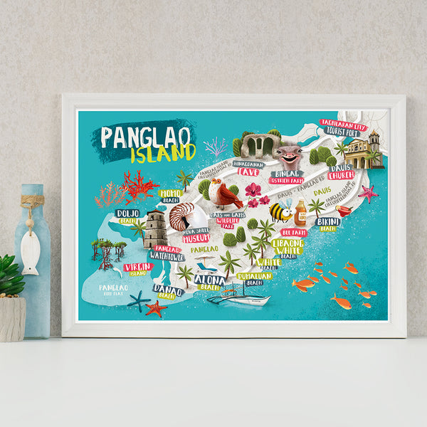 panglao island tourist souvenir illustrated pinoy art map  Philippines gift