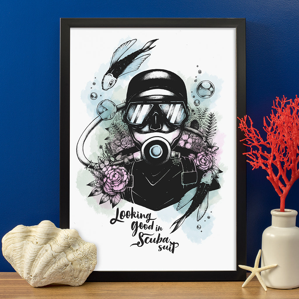 Looking Good In Scuba Suit Poster