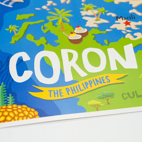 Coron Illustrated Map Poster  Philippine