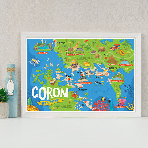 «Coron Illustrated Map» Poster Philippine
