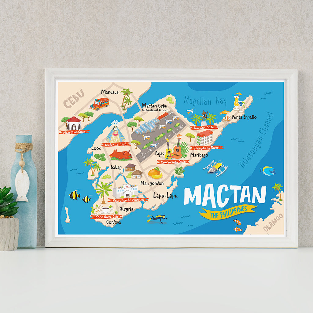 «Mactan Illustrated Map» Poster Philippines gift