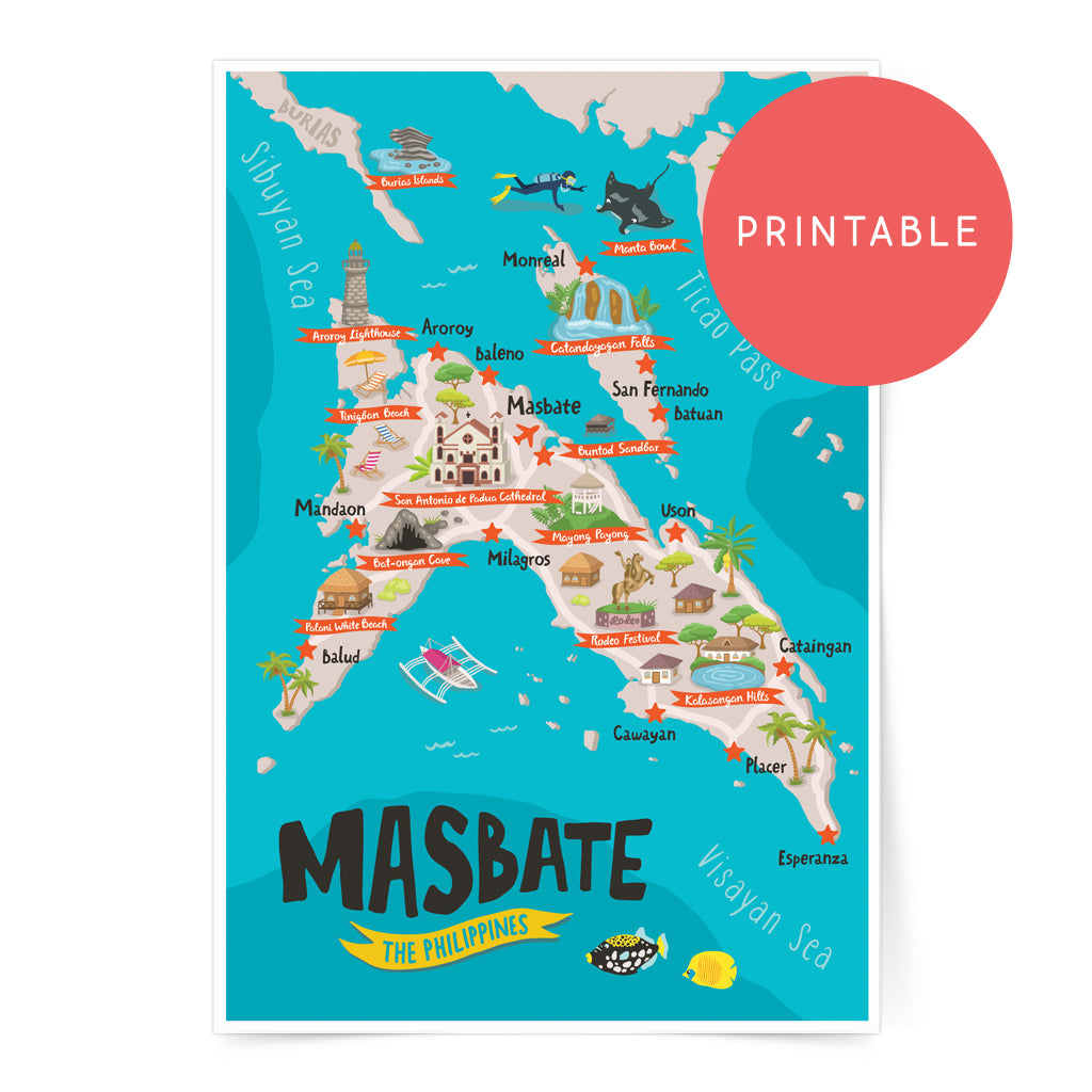 Masbate Illustrated Map Printable Wall Art Poster