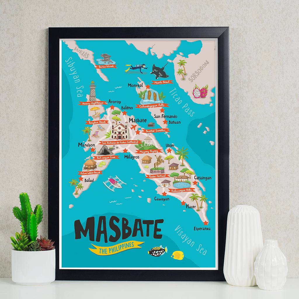 Masbate Philippines Map.Buy Masbate Illustrated Map Poster In Online Shop Philippine
