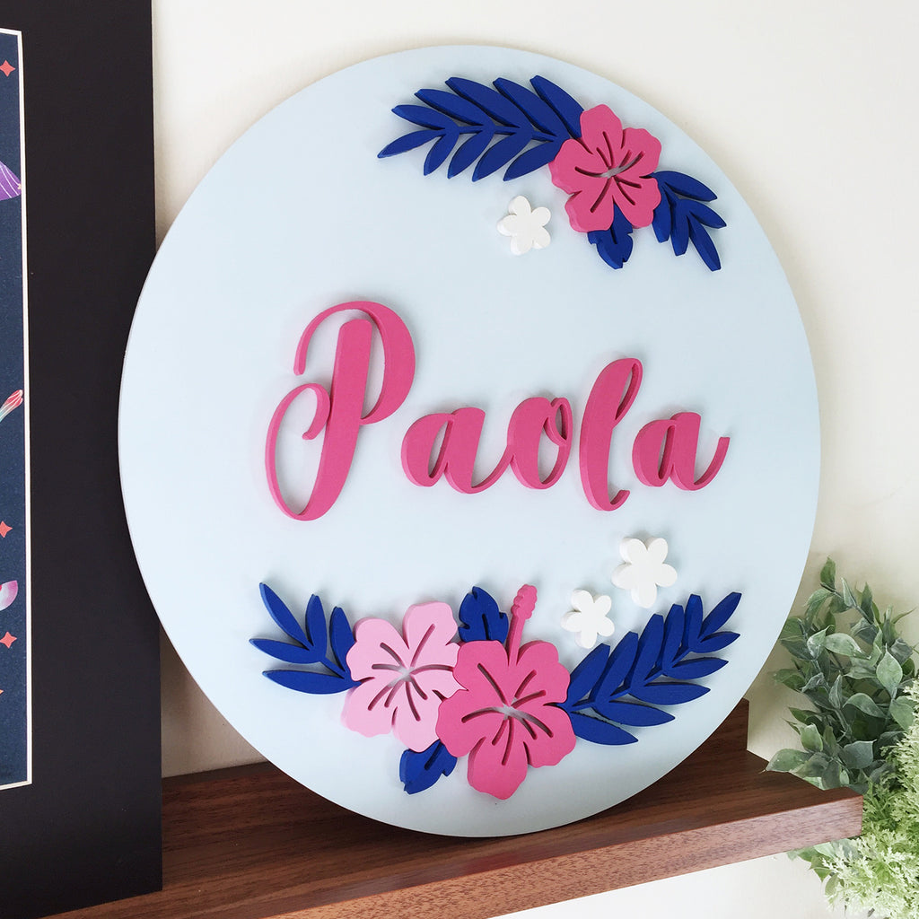 Custom Girl Name Laser Cut Round Sign