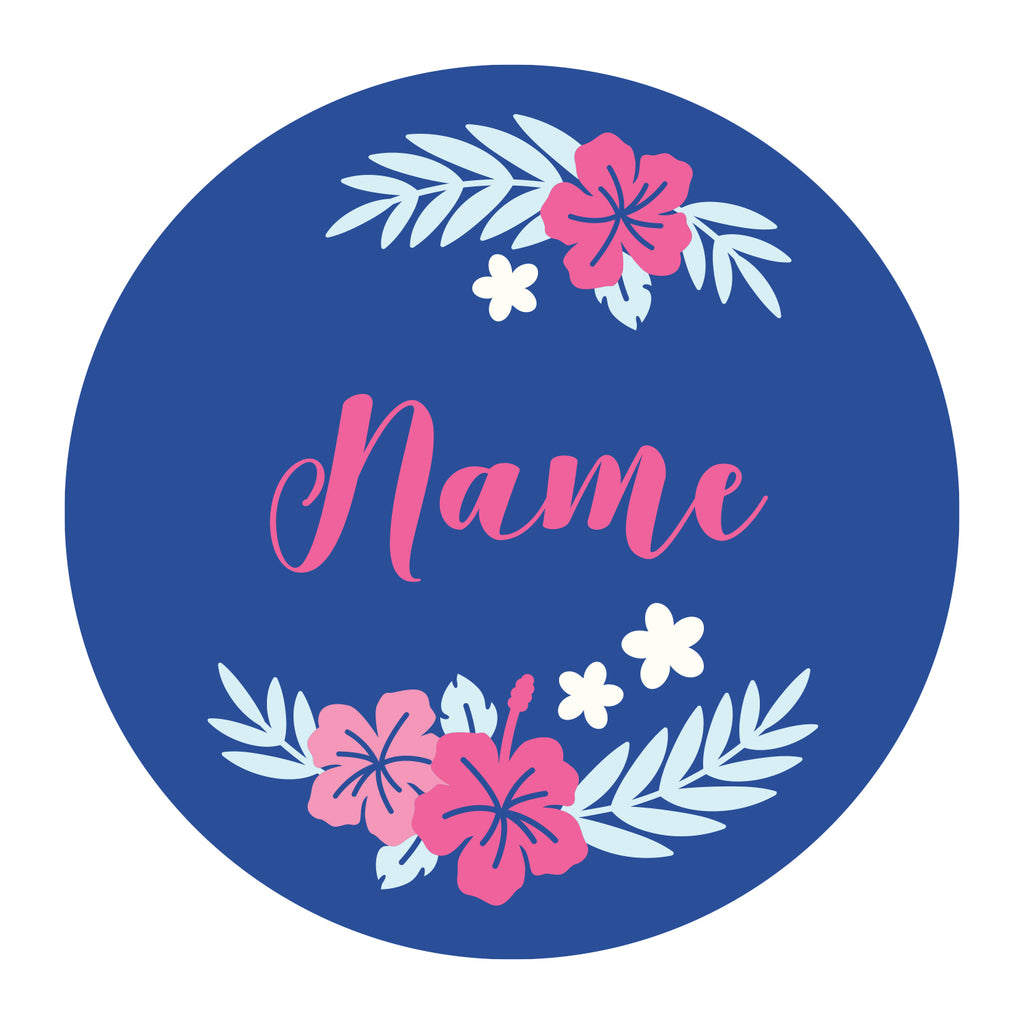 gift personalised customized birthday valentine woman mother's day mother event decor baby flower calligraphy pink mint flowers hibiscus wood 3d effect navy blue valentine