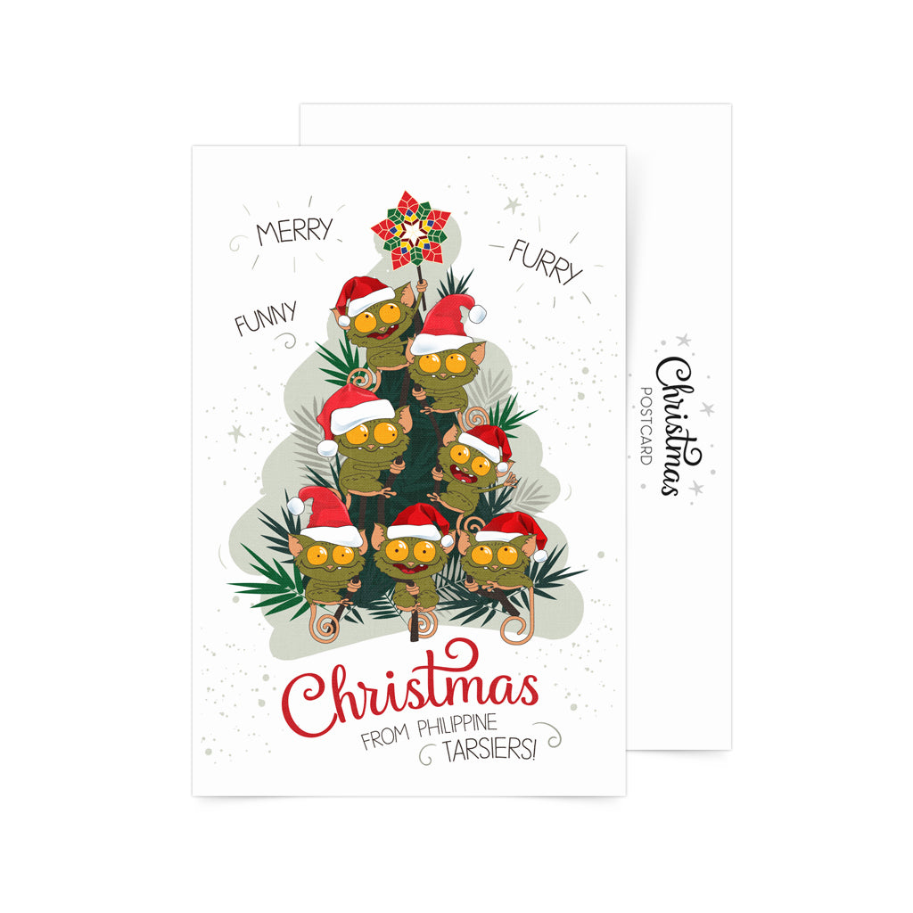 Merry Furry Funny Christmas Tree Postcard