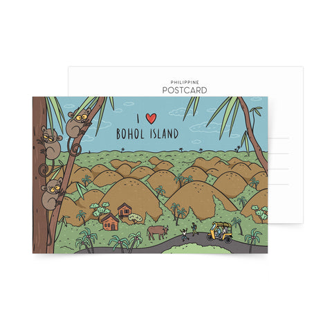 Filipino art postcard bohol chocolate hills tarsier postcrossing Philippine