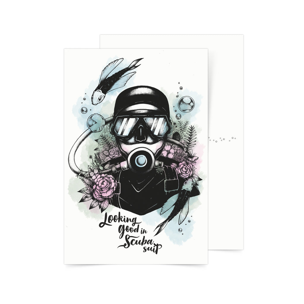 diver scuba gift souvenir philippines postcrossing card art pinoy