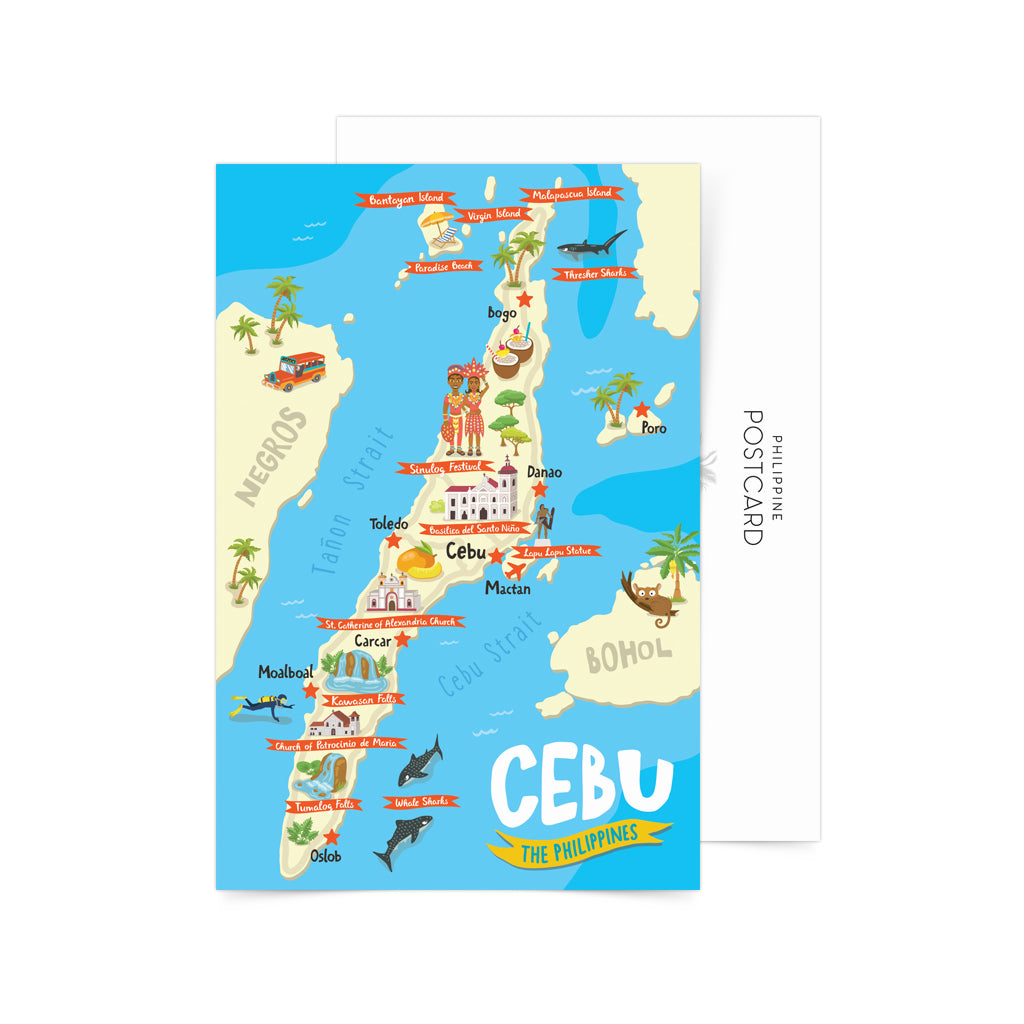 Cebu Illustrated Map Postcard
