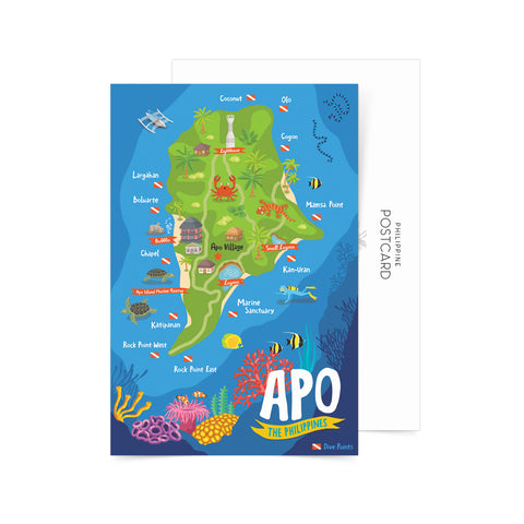 Apo Illustrated Map Postcard Philippine