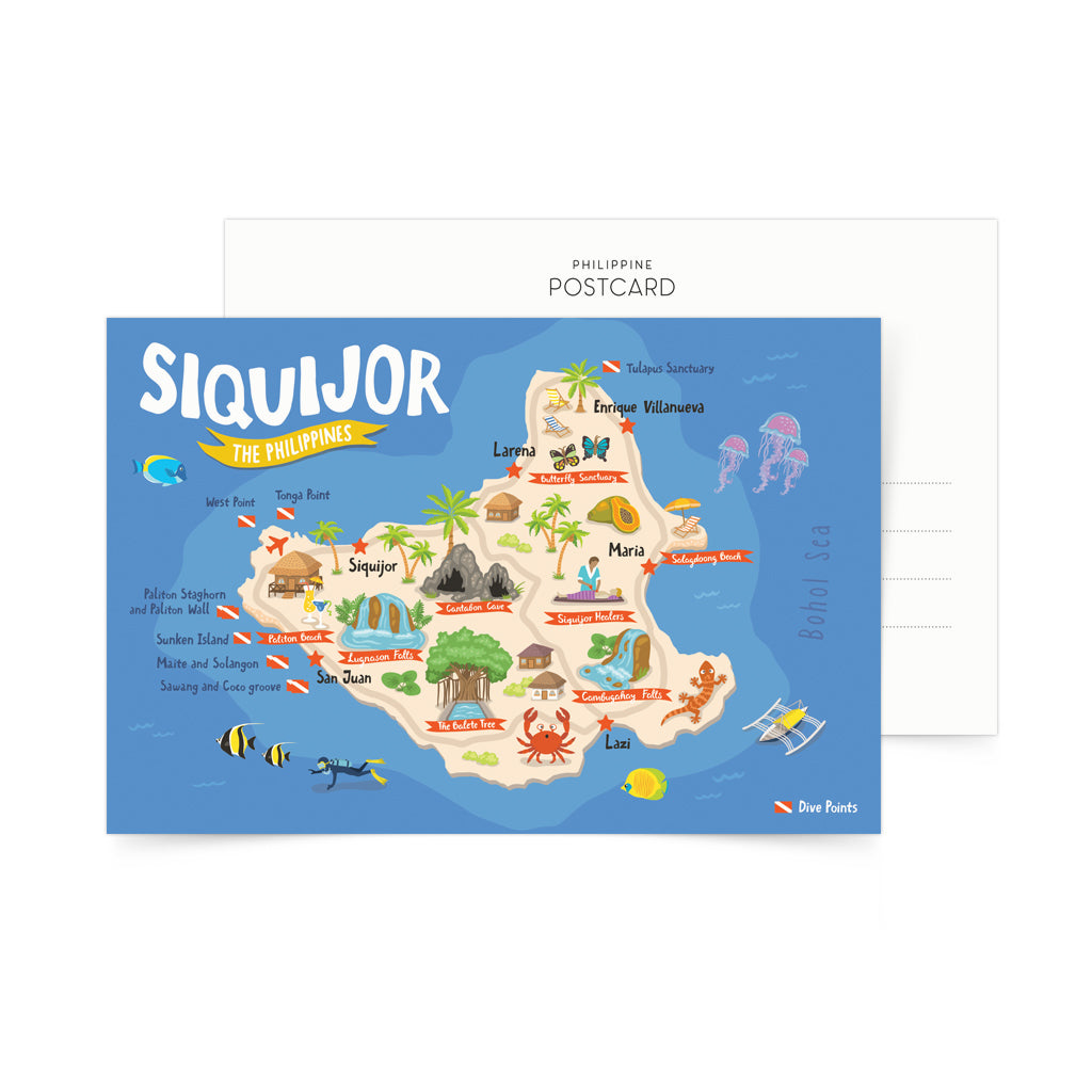 Siquijor Illustrated Map Postcard Philippines gift