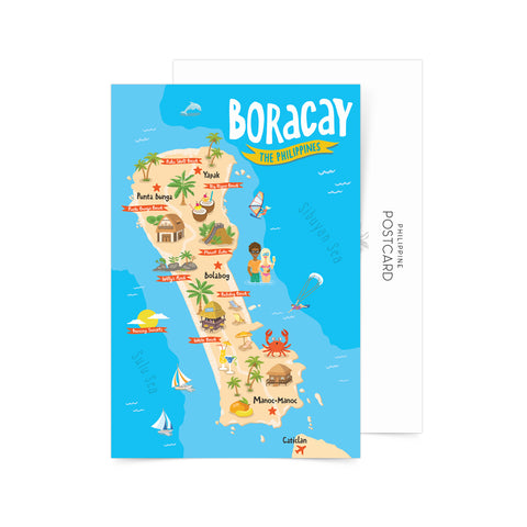 Boracay Illustrated Map Postcard Philippine