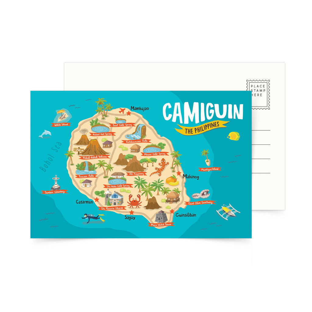 illustrated art tourist camiguin filipino volcano pinoy philippines mail tourist spot