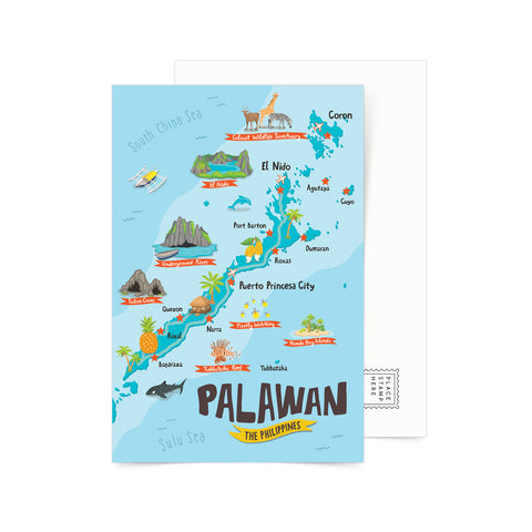 Palawan Illustrated Map Postcard Philippine