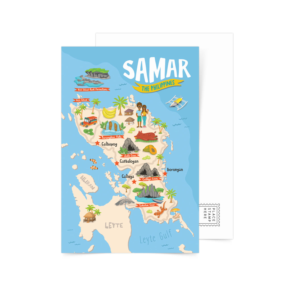 illustrated art pinoy samar island map philippines local tourist spot