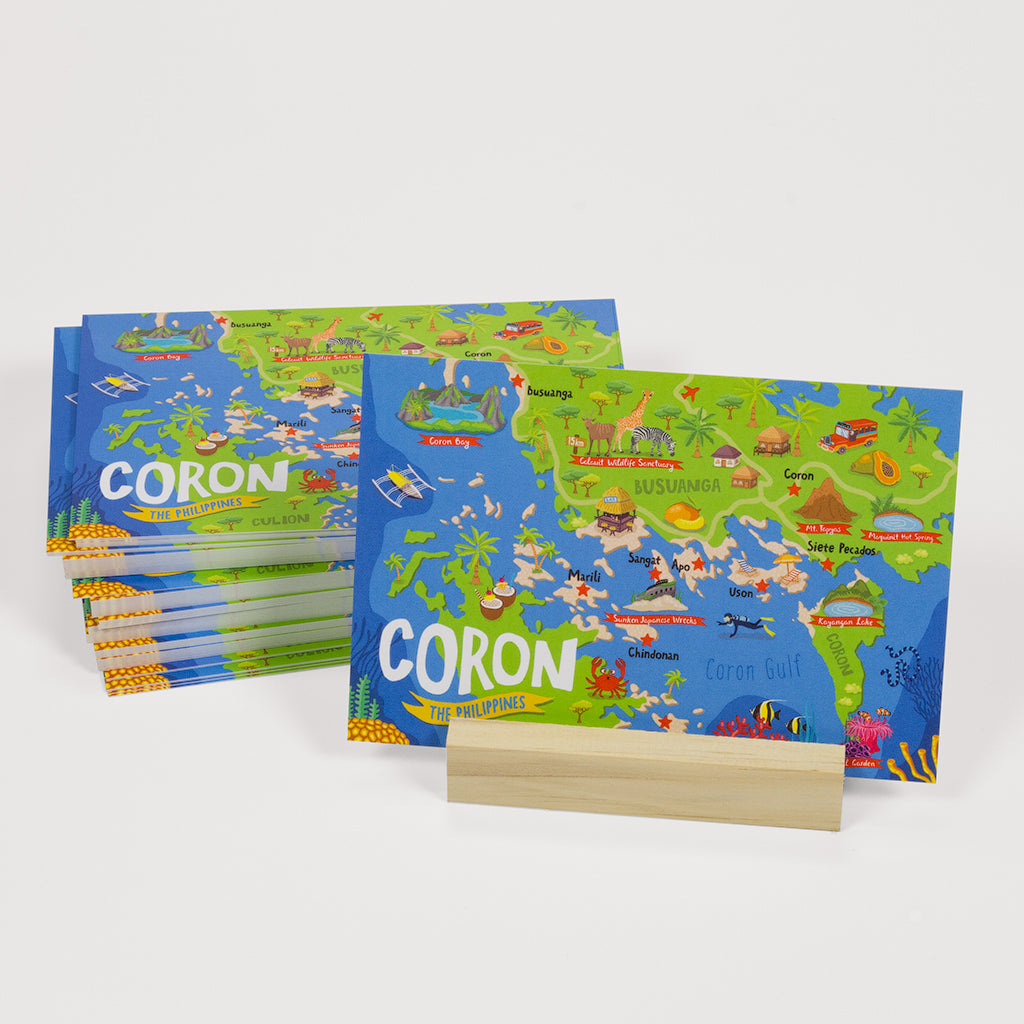 Coron Illustrated Map Postcard