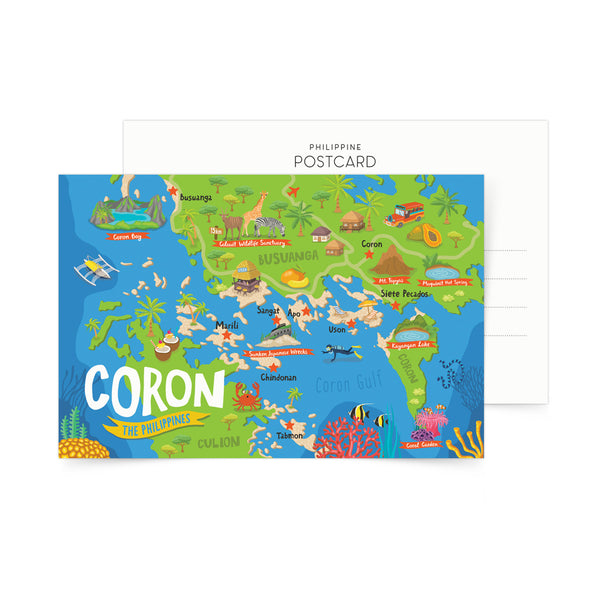 Coron Illustrated Map Postcard  Philippines gift