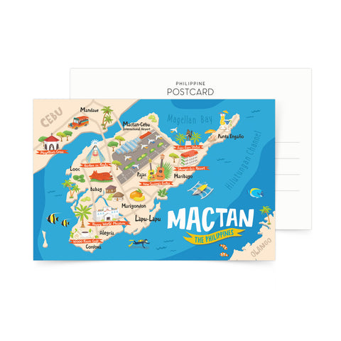 «Mactan Illustrated Map» Postcard Philippine