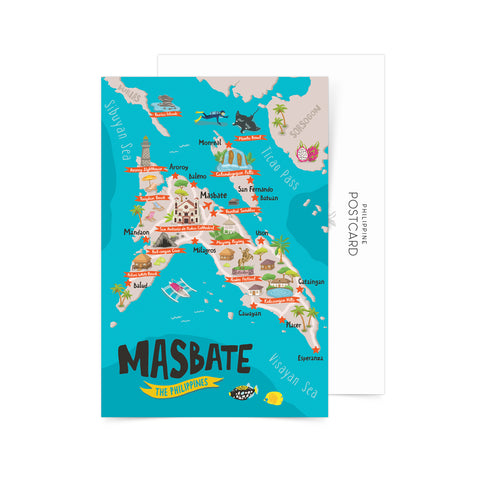 Masbate Illustrated Map Postcard Philippine