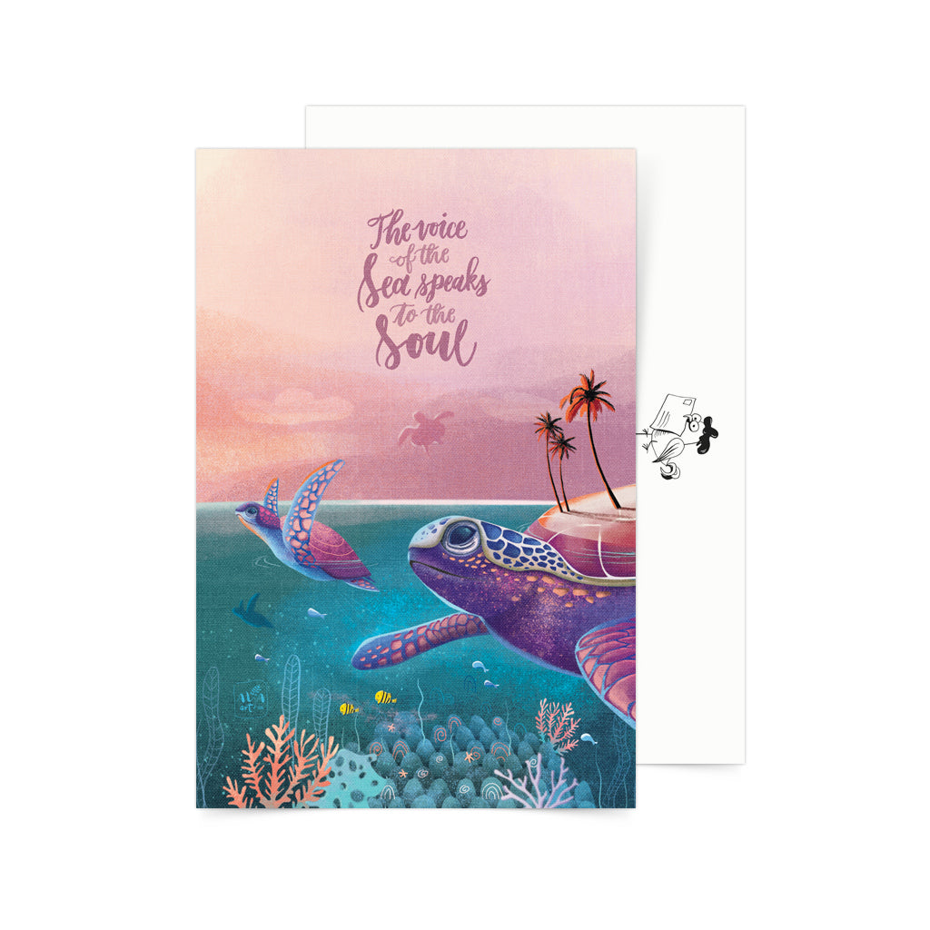 Filipino postcard snail mail pinoy underwater art whale shark turtle postcrossing cute kawaii calligraphy gift souvenir decor print
