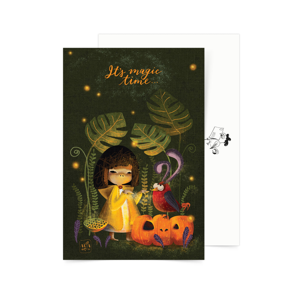 halloween pumpkin art snailmail postcrossing cute design card