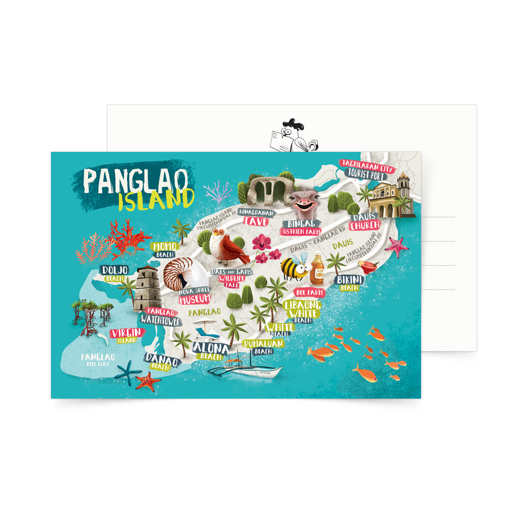 illustrated art postcard pangalo island map philippines
