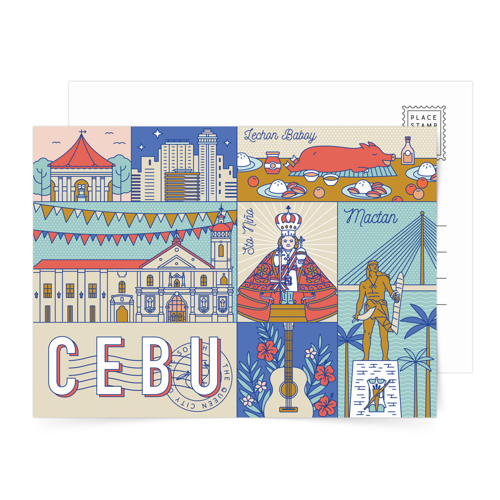 Magellan's Cross guitar Lapu-Lapu Mactan Cebu city lechon baboy art design pinoy Sto. Nino de Cebu postcrossing snailmail card souvenir gift travel journal vintage tourist pasalubong