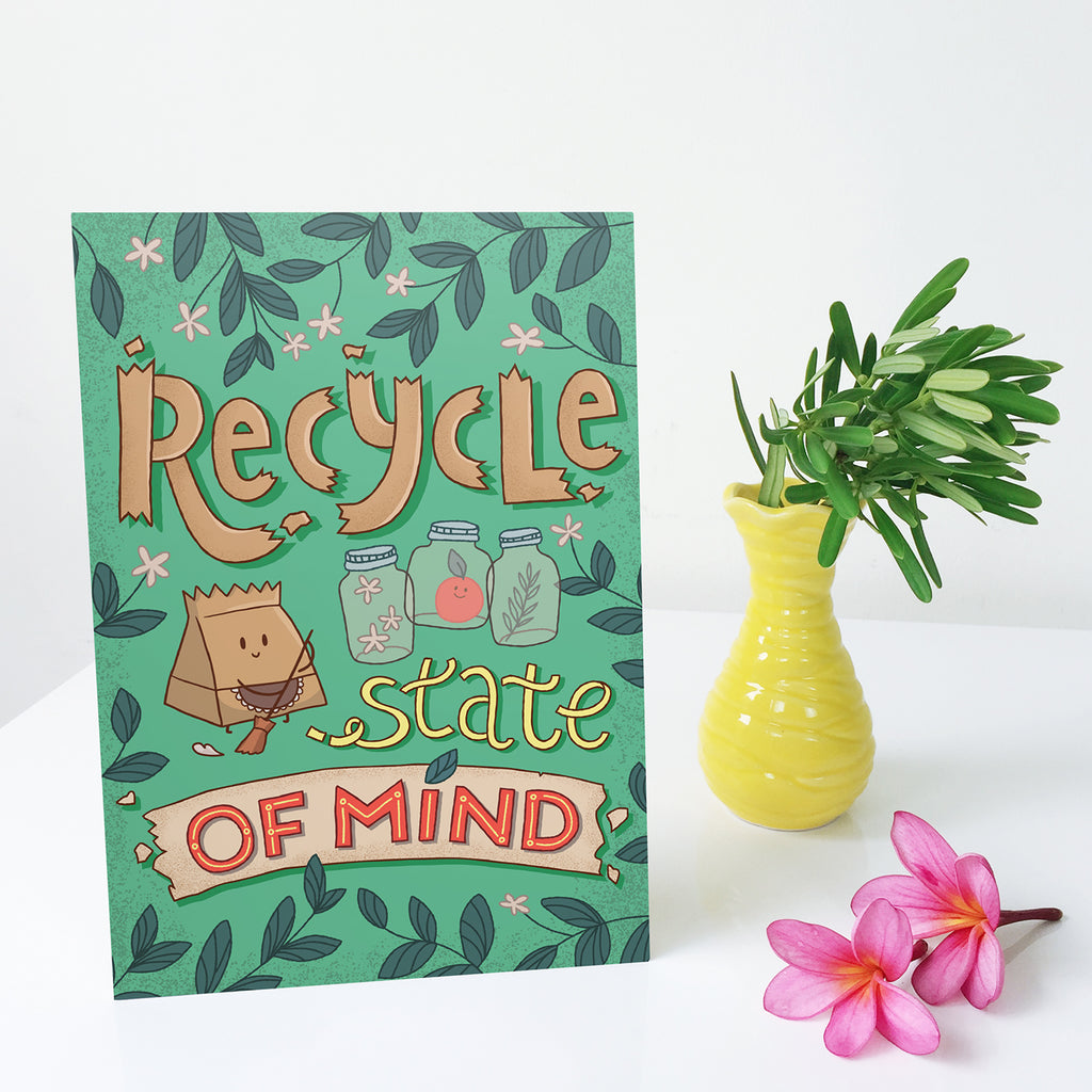 reduce reuse earth day craft paper decor wall quote zero waste go green no plastic save planet gift  handmade