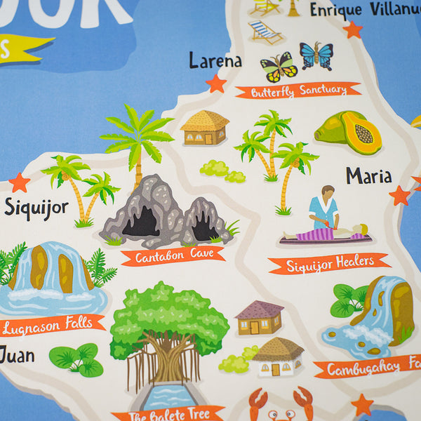 Siquijor Illustrated Map Poster  Philippines gift
