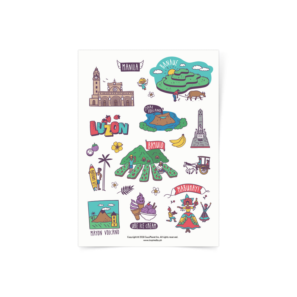 «Travel Luzon» Sticker sheet Philippines gift