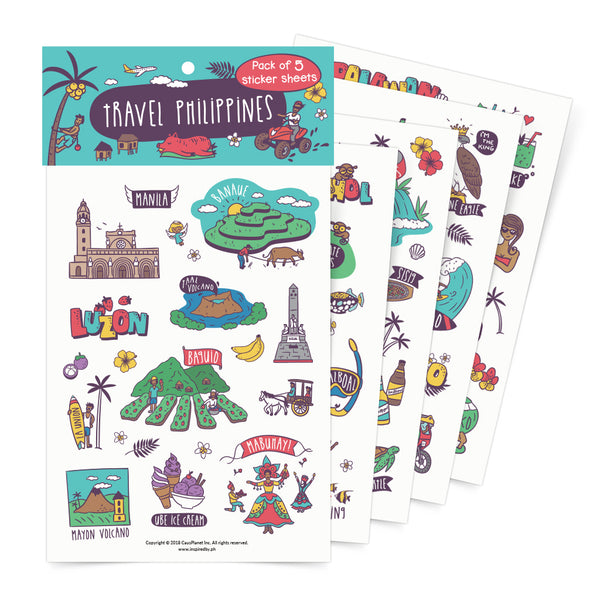 Travel Philippines Sticker Sheets Set Of 5 + Free Postcard  Philippines gift