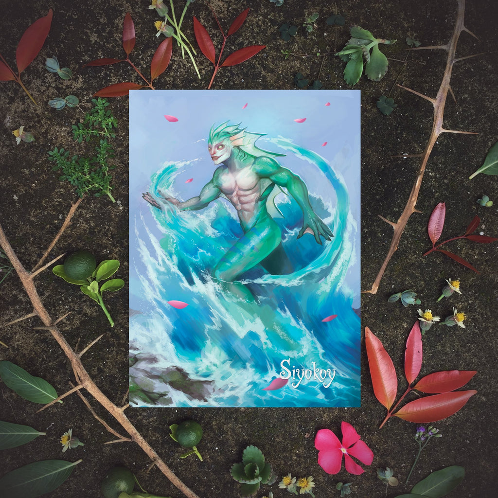Philippine mythology mythical creature supernatural pinoy legend art fantasy myth spirit collectible mail postcrossing underwater aquatic Syokoy Bantay Tubig
