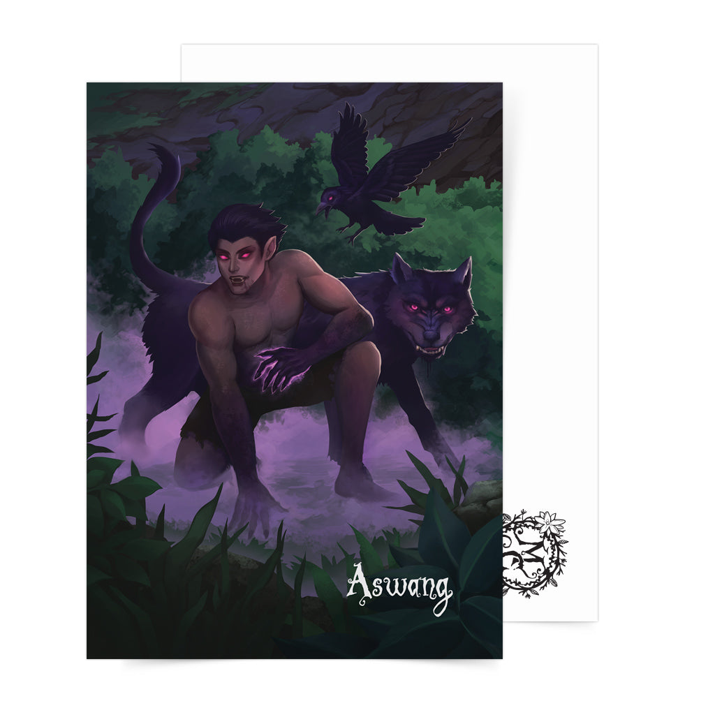 Philippine mythology mythical creature supernatural pinoy legend art fantasy myth spirit mail postcrossing collectible aswan folklore filipino dark wolf