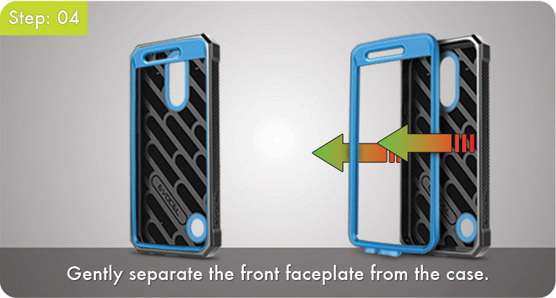 Step 4 - Gently separate the front faceplate from the case.