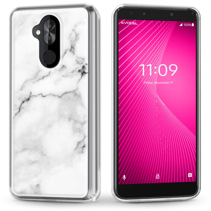 Evocel Alcatel T-Mobile REVVL 2 Plus / Alcatel 7 Folio Iconic Series White Marble Case