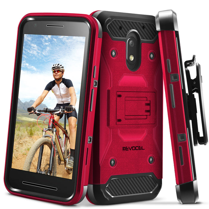Evocel Motorola Moto E3 Trio Pro Series Red Case