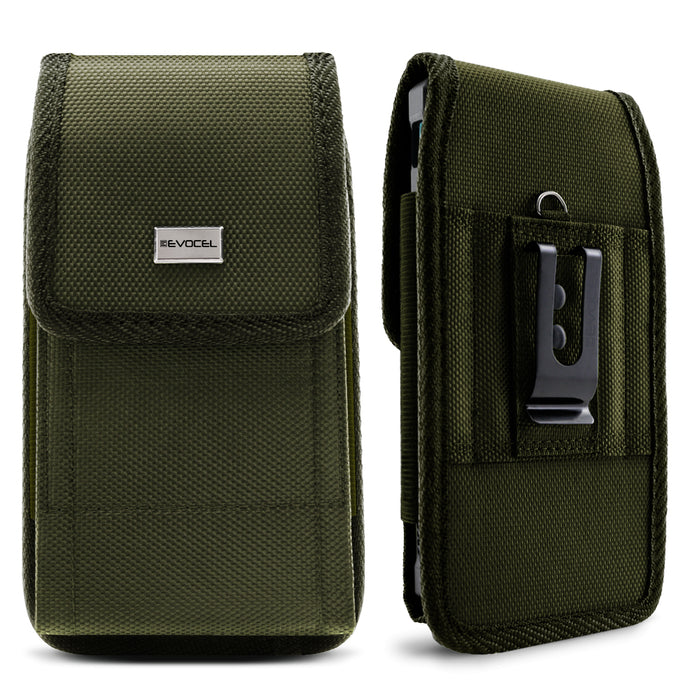 Evocel Urban Pouch Military Olive Drab Green Belt Loop Case with Metal Clip - Large