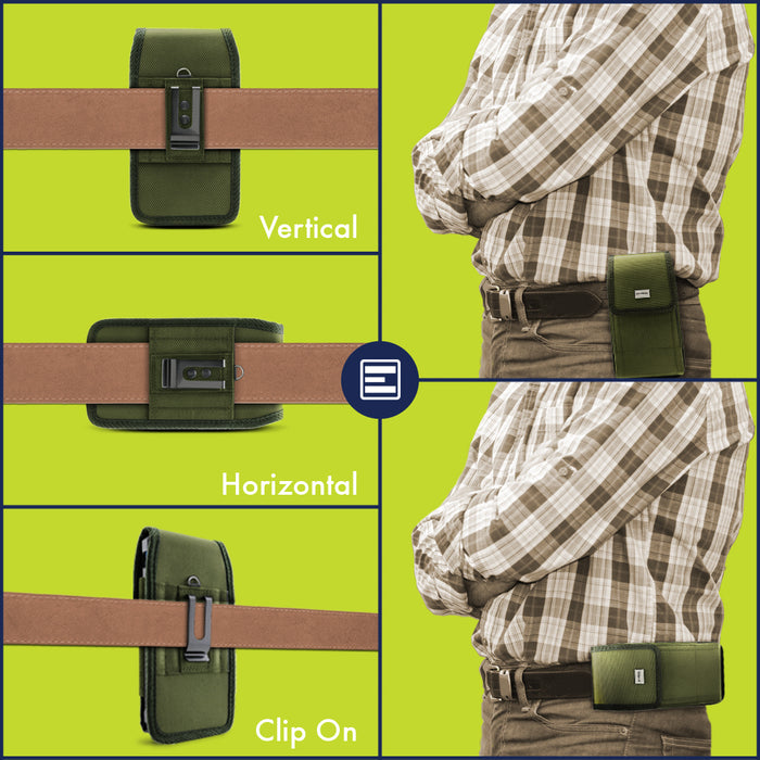 Evocel Urban Pouch Military Olive Drab Green Belt Loop Case with Metal Clip - Extra Large