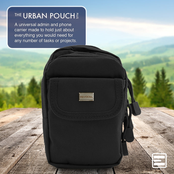 Urban Pouch Plus Universal Phone Pouch with 3-Pockets and MOLLE Straps - Black