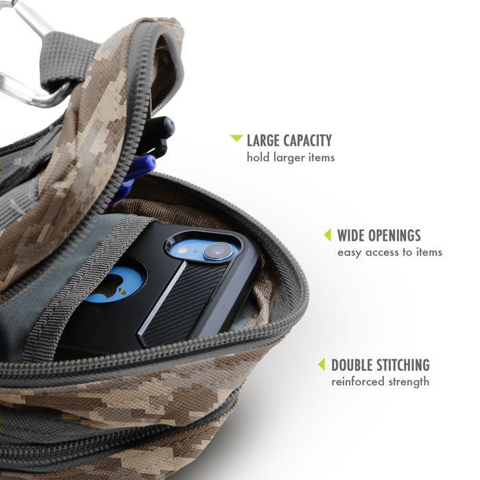 Urban Pouch Plus Universal Phone Pouch with 3-Pockets and MOLLE Straps - Digital Camouflage
