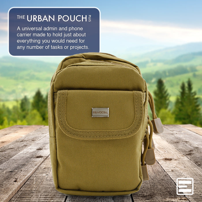 Urban Pouch Plus Universal Phone Pouch with 3-Pockets and MOLLE Straps - Sand