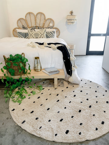 Cotton Dotty Round Washable Rug