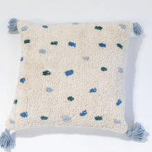 Washable cotton cushion by Oh Happy Home Blue and Green Dots
