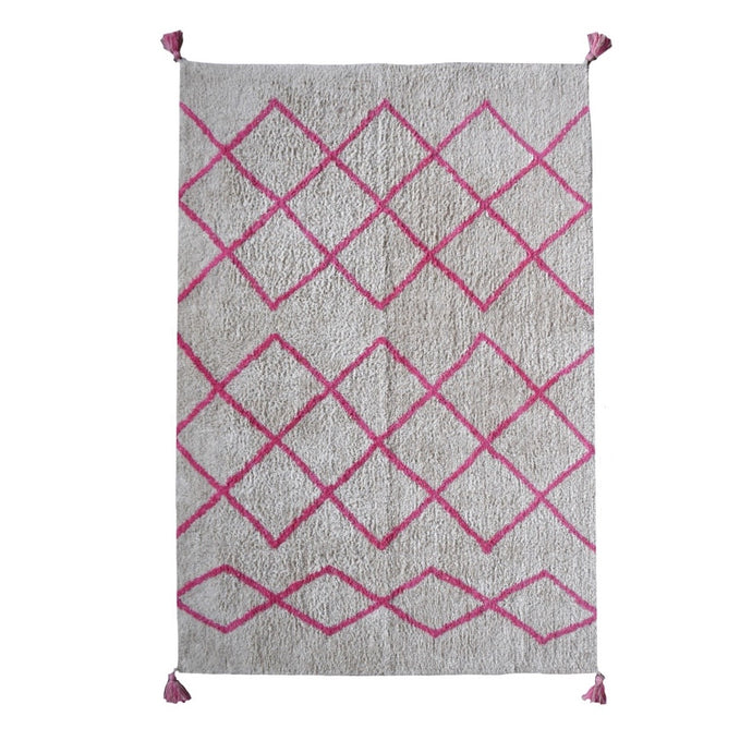 Washable Cotton Berber Rug Pink