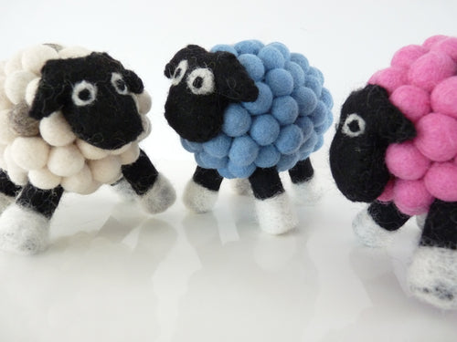 Felt Ball Sheep - Happy as Larry