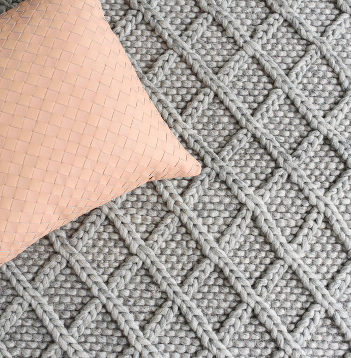 Diamond Honeycomb Grey Knit Rug - Happy as Larry