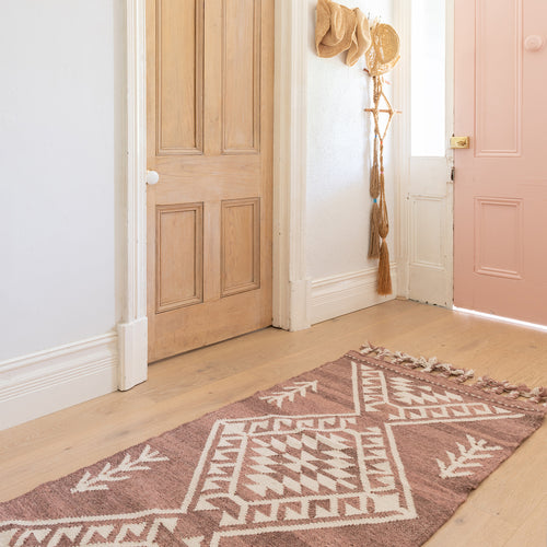 Wool Hallway Runner In Cherry Rust By OHH