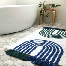 Washable Blue and Green Arches Bath Mat with Tassels