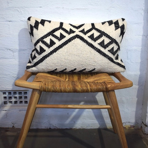 Monochrome Handwoven Cushion by Oh Happy Home